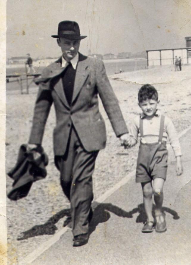 1948 Michael and Dad on Southsea sea front