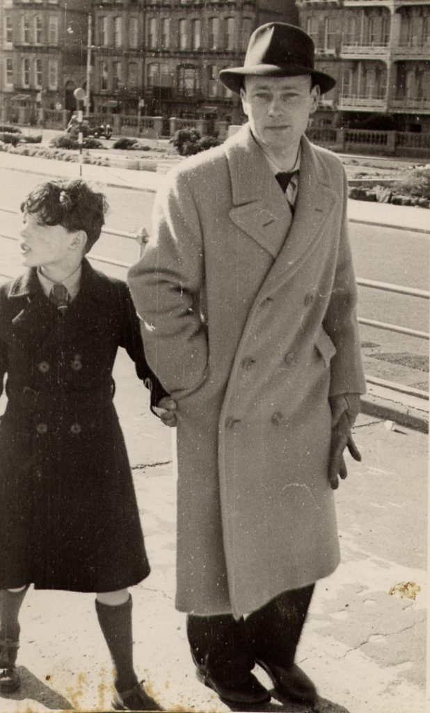 1953 on the sea front with  dad